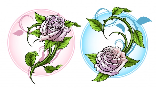 Graphic detailed cartoon roses with stem set