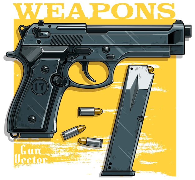 Graphic detailed handgun pistol with ammo clip