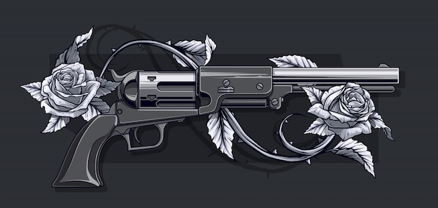 Graphic detailed old revolver with roses
