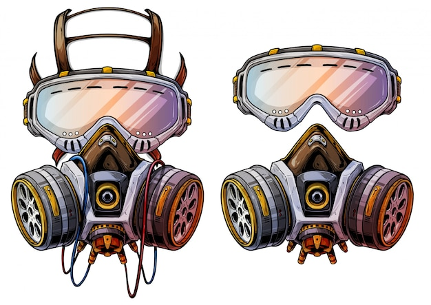 Graphic detailed protective gas mask respirator