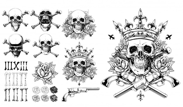 Graphic detailed skulls bones roses and gun set