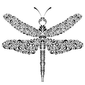 Графическая татуировка стрекоза, изолированные на белом фоне