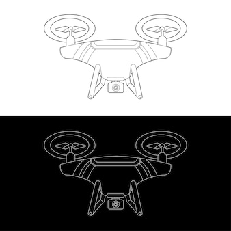 Graphic drones black and white outline outline stroke illustrate