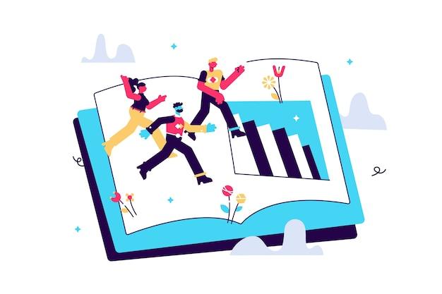 젊은이들에게 책에서 지식을 얻도록 가르치는 그래픽 요소