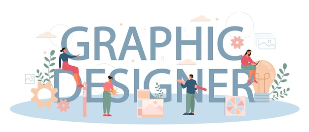 Graphic er or digital illustrator typographic header concept. picture on the device screen. digital drawing with electronic tools and equipment. creativity concept.