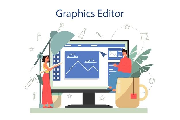 그래픽, 일러스트 레이터 온라인 서비스 또는 플랫폼. 책, 웹 사이트 및 광고를위한 예술가 그림. 온라인 그래픽 편집기.