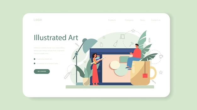 그래픽, 일러스트 레이터 웹 배너 또는 랜딩 페이지. 책과 잡지를위한 그림 그리기, 웹 사이트 및 광고를위한 디지털 그림.