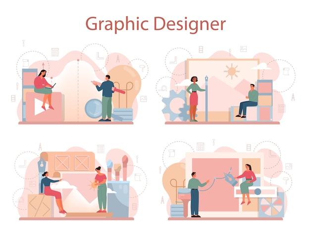 グラフィックerまたはデジタルイラストレーターのコンセプトセット。デバイス画面の画像。電子ツールと機器を使用したデジタル描画。創造性の概念。