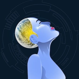 Graphic of female cyborg face with electronic board inside head