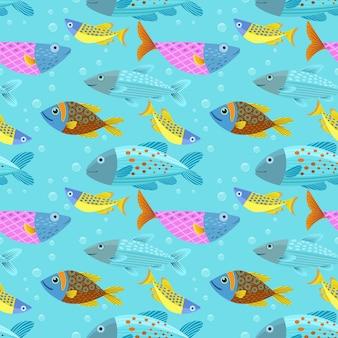 Graphic fish seamless pattern.