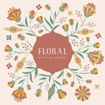 Graphic floral folk art botanical illustration vintage frame