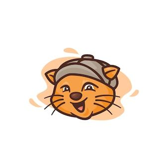Графика для иллюстрации талисмана кошки, идеально подходящей для логотипа, значка или талисмана