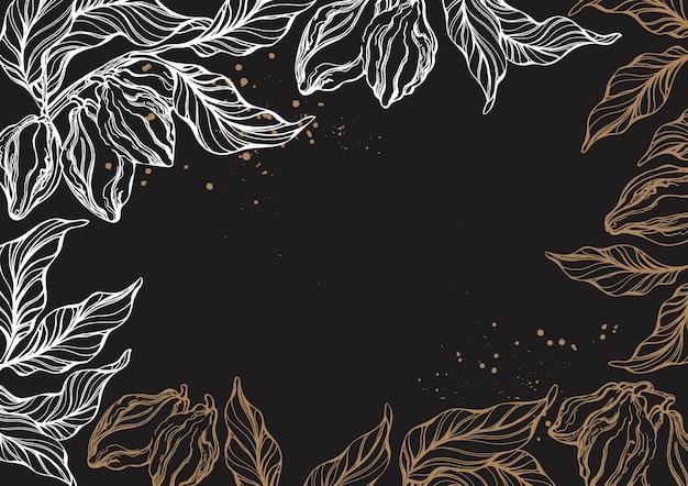カカオの木の枝の葉豆のグラフィックフレームヴィンテージ手描きテンプレート