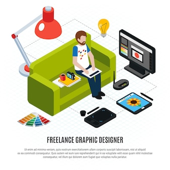 Графический фрилансер, его планшетный компьютер и другие инструменты на белом изометрической блок-схеме 3d