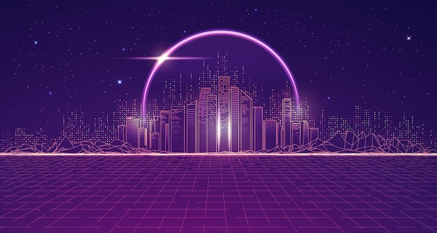 Graphic of futuristic city with outer space and purple planet