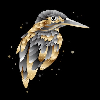 Graphic golden kingfisher bird illustration