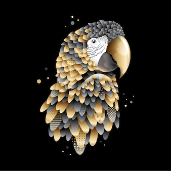 Graphic golden parrot, macaw bird illustration