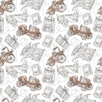 Graphic hand painted seamless pattern with travel and transport illustrations in vintage stile.