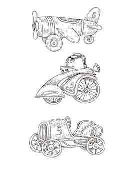 ヴィンテージの踏み越し段に設定されたグラフィックの手描きのトランスポート。白のレトロな車、飛行機、自転車