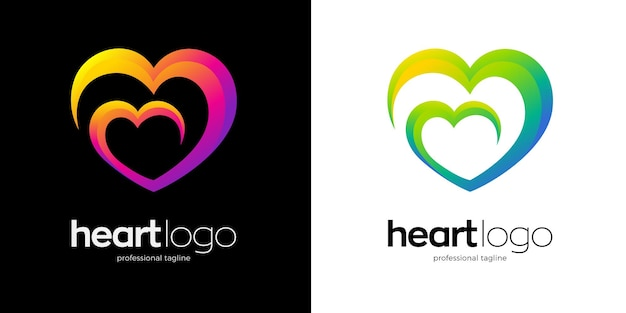 Graphic heart logo in two color variants
