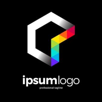 グラフィック六角形のロゴのテンプレート Premiumベクター