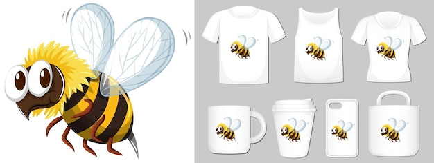 Graphic of honey bee on different types of product template