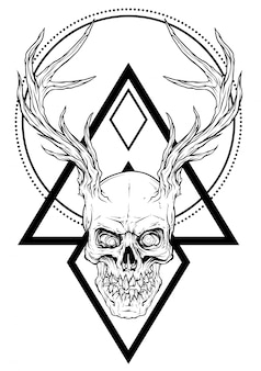 Graphic human skull with deer horns
