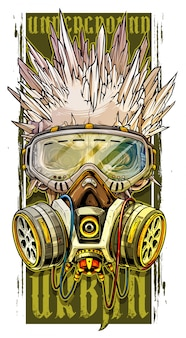 Graphic human skull with ice spikes and gas mask