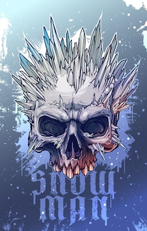Graphic human skull with ice spikes