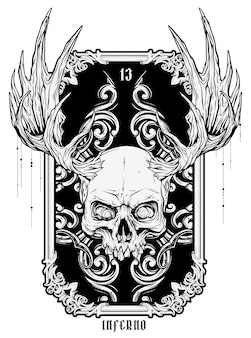 Graphic human skull with moose horns