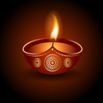 Graphic illustration of burning diya of diwali celebration