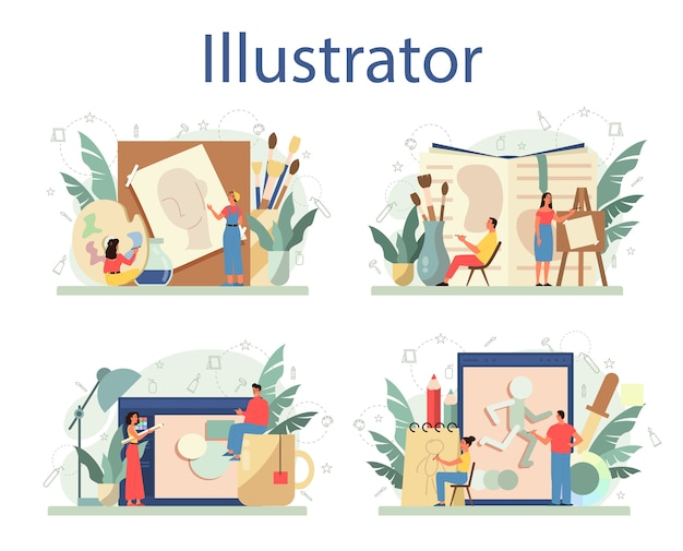 Graphic illustration designer, illustrator set