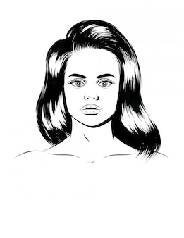 Graphic illustration of a female portrait. face of a beautiful girl isolated. hand drawn silhouette of a young woman's face