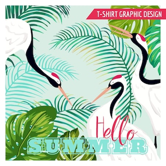 Graphic illustration of japaneese cranes and tropical flowers for t-shirt design, fashion prints, banner, flyer in vector