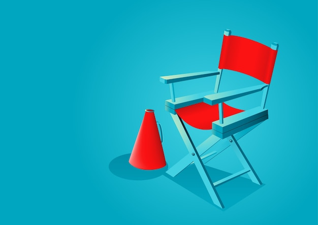 Graphic illustration of movie director chair with megaphone