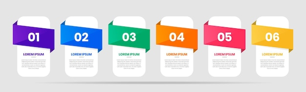 Graphic of infographic element design templates with icons and 6 numbers