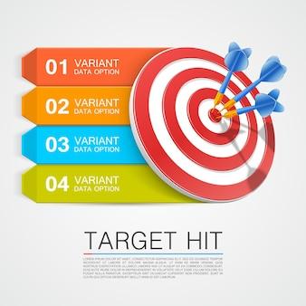 Graphic information target with darts. vector illustration Premium Vector