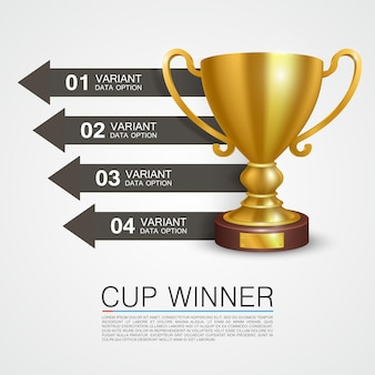Graphic information winner cup art. vector illustration