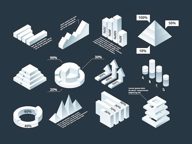 Graphic isometric. infographic business diagram charts stats shapes empty infographic template