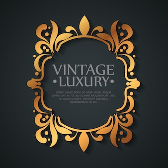 Graphic label with ornament frame shape style