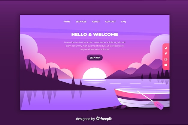 Graphic landing page with gradient landscape