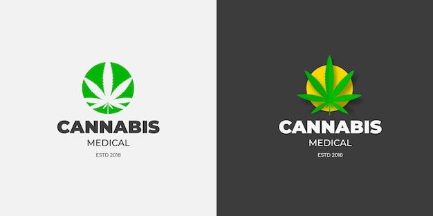 녹색 및 노란색 원 의료 마리화나 엠블럼에 대마초 잎이 있는 그래픽 로고