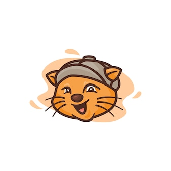 Graphic for mascot cat wearing illustration, perfect for logo, icon or mascot