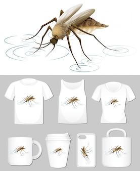 Graphic of mosquito on different product templates