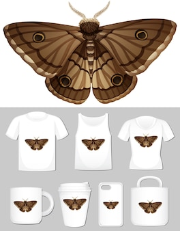Graphic of moth on different types of product template