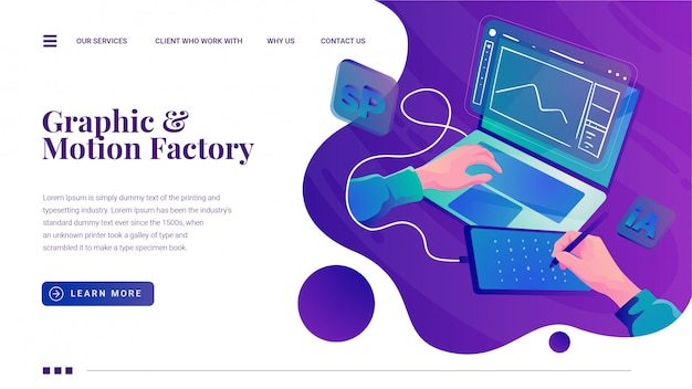 Креативный дизайн graphic motion studio landing page