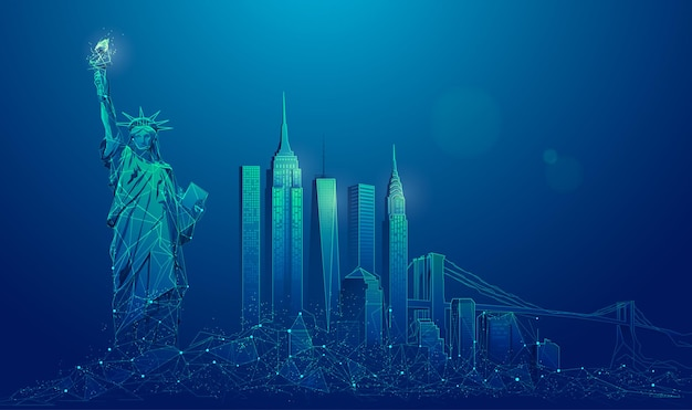 Graphic of new york city presented in low poly futuristic style