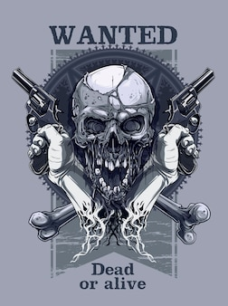 Graphic realistic skull with hand holding revolver