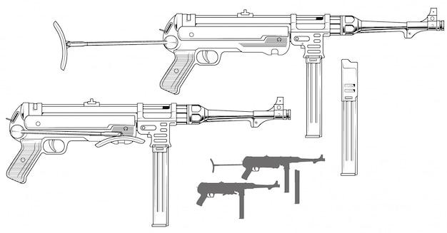탄약 클립 그래픽 복고풍 기관단총