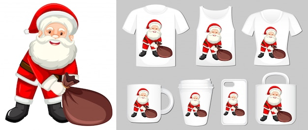 Graphic of santa on different product templates